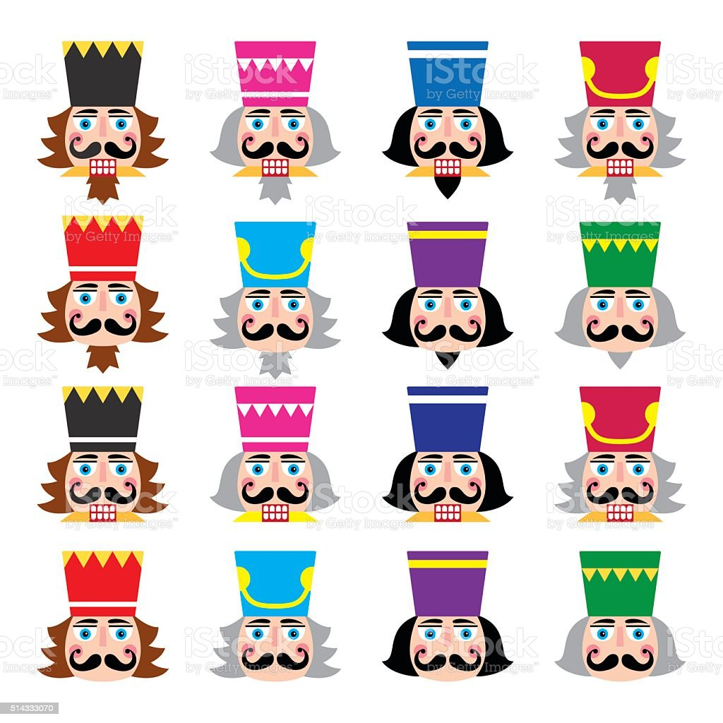 Christmas nutcracker - soldier figurine head icons set vector art illustration