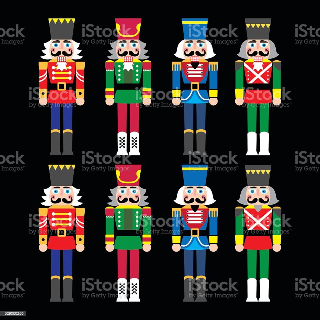 Christmas nutcracker - soldier figurine icons set on black vector art illustration