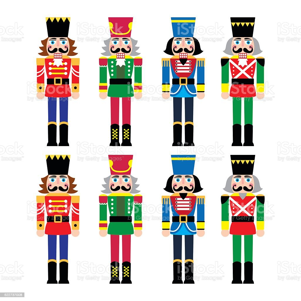 Christmas nutcracker - soldier figurine icons set vector art illustration