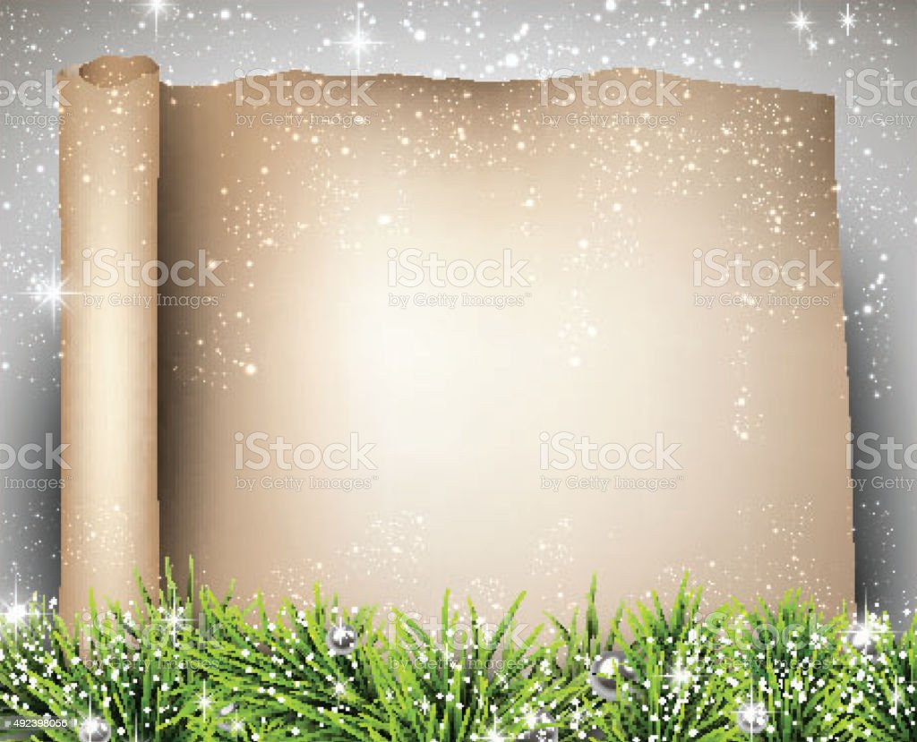 Christmas old paper background with fir twigs vector art illustration