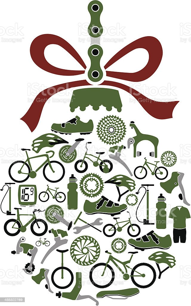 Christmas Ornament Ball Made From Bikes and Bike Part Icons royalty-free stock vector art
