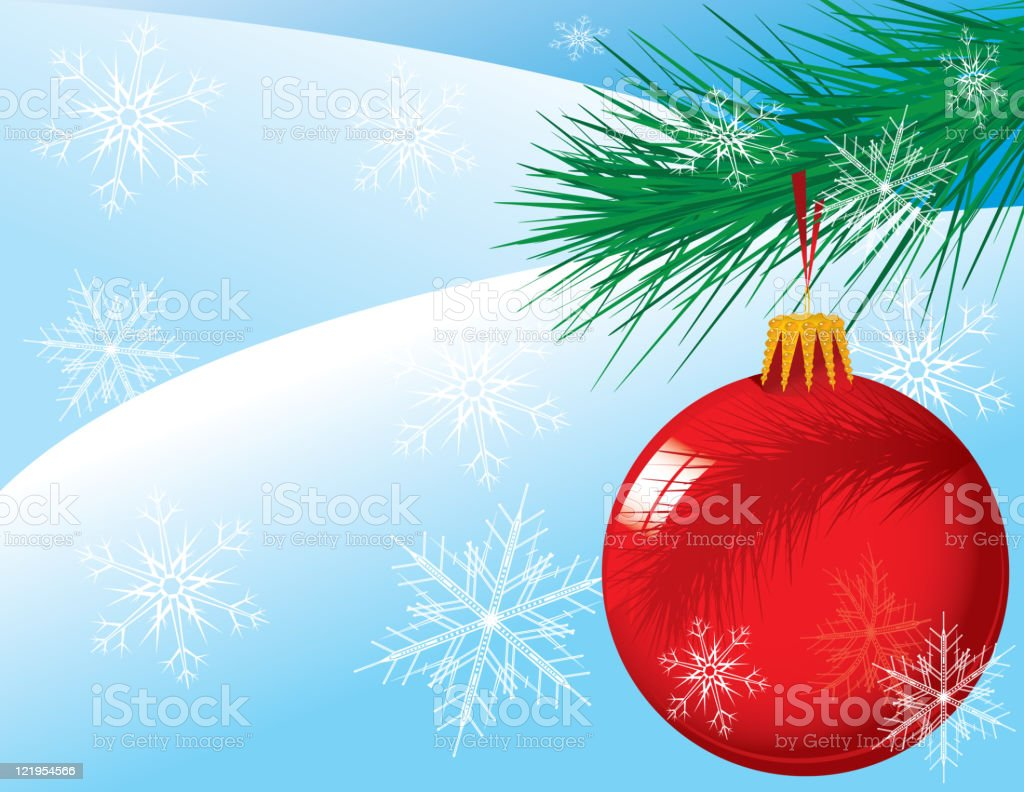 Christmas Ornament on a Pine Bough royalty-free stock vector art