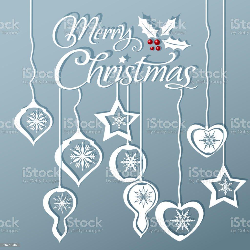 Christmas ornament papercut art vector art illustration