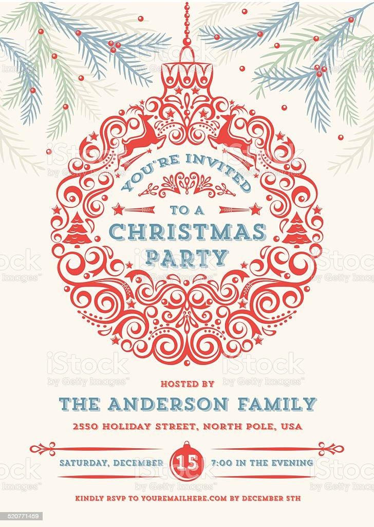 Christmas Ornament Party Invitation vector art illustration