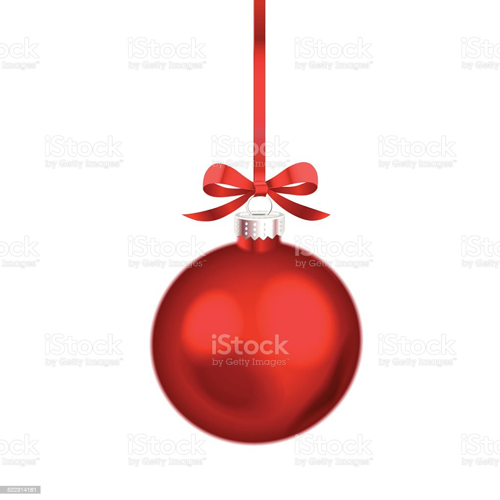 Christmas ornament with red ribbon. Vector Illustration. vector art illustration