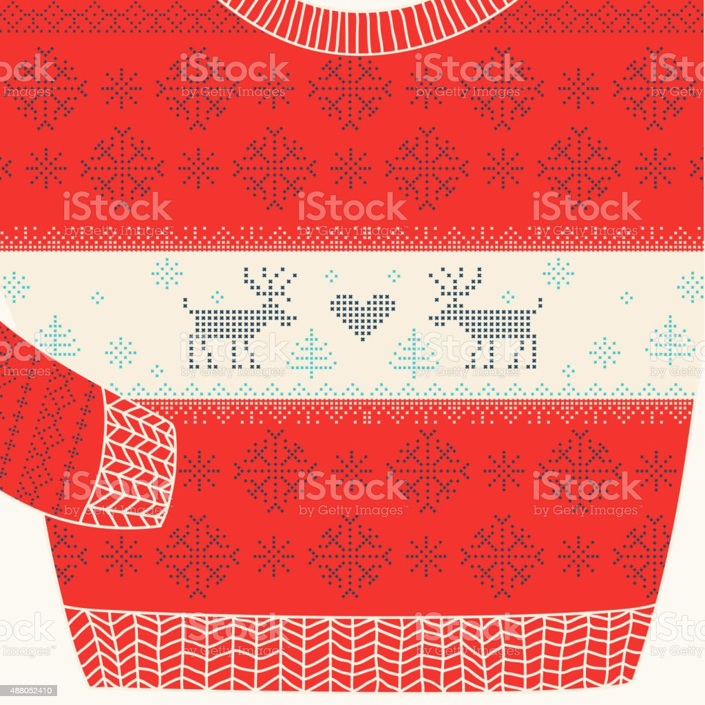 Christmas Ornamental Sweater - Ugly Party Sweater vector art illustration