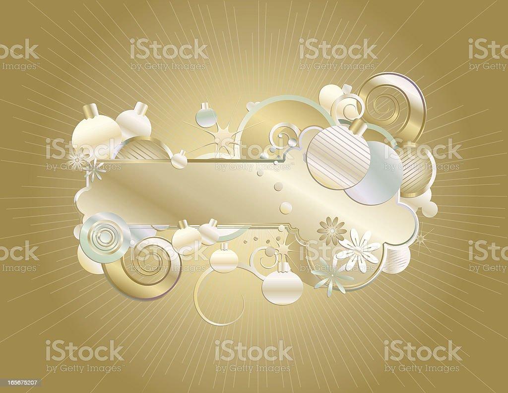 Weihnachten Weihnachtsschmuck und Retro-stilisierte Frame-Gold, Silber, grün Lizenzfreies vektor illustration