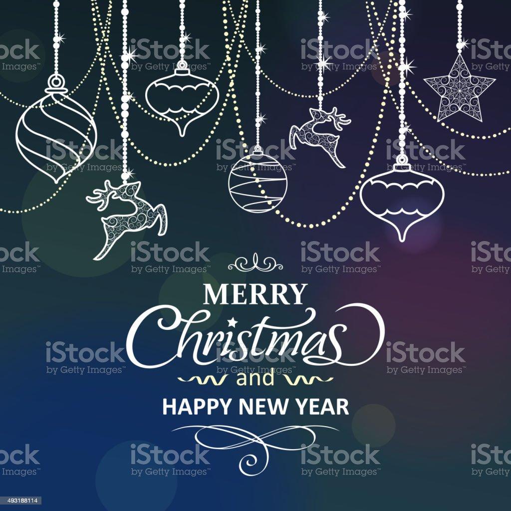 Christmas ornaments elements vector art illustration