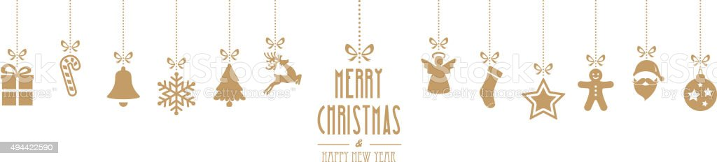 christmas ornaments hanging gold isolated background vector art illustration