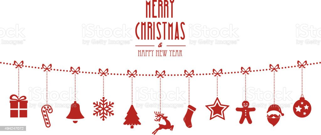 christmas ornaments hanging rope red isolated background vector art illustration