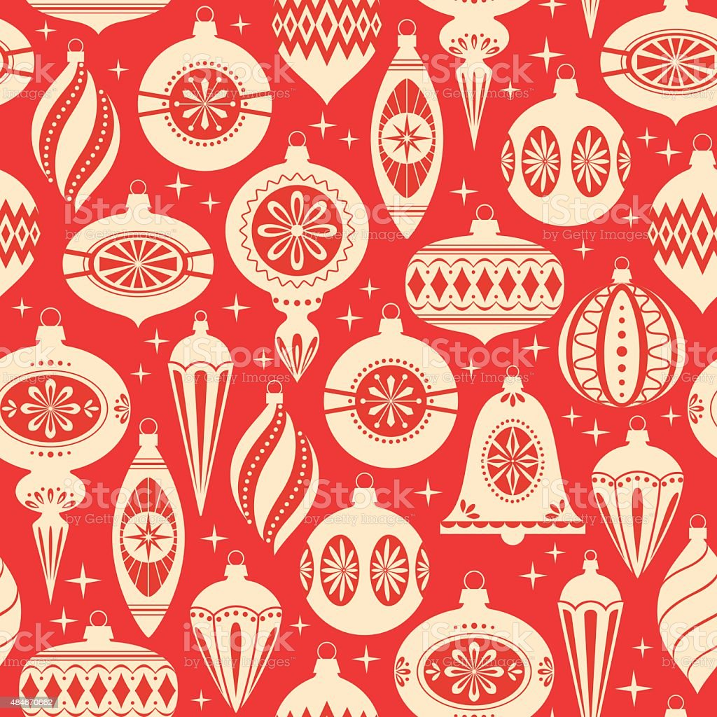 Christmas ornaments pattern vector art illustration
