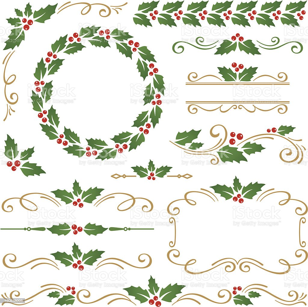 Christmas ornaments vector art illustration
