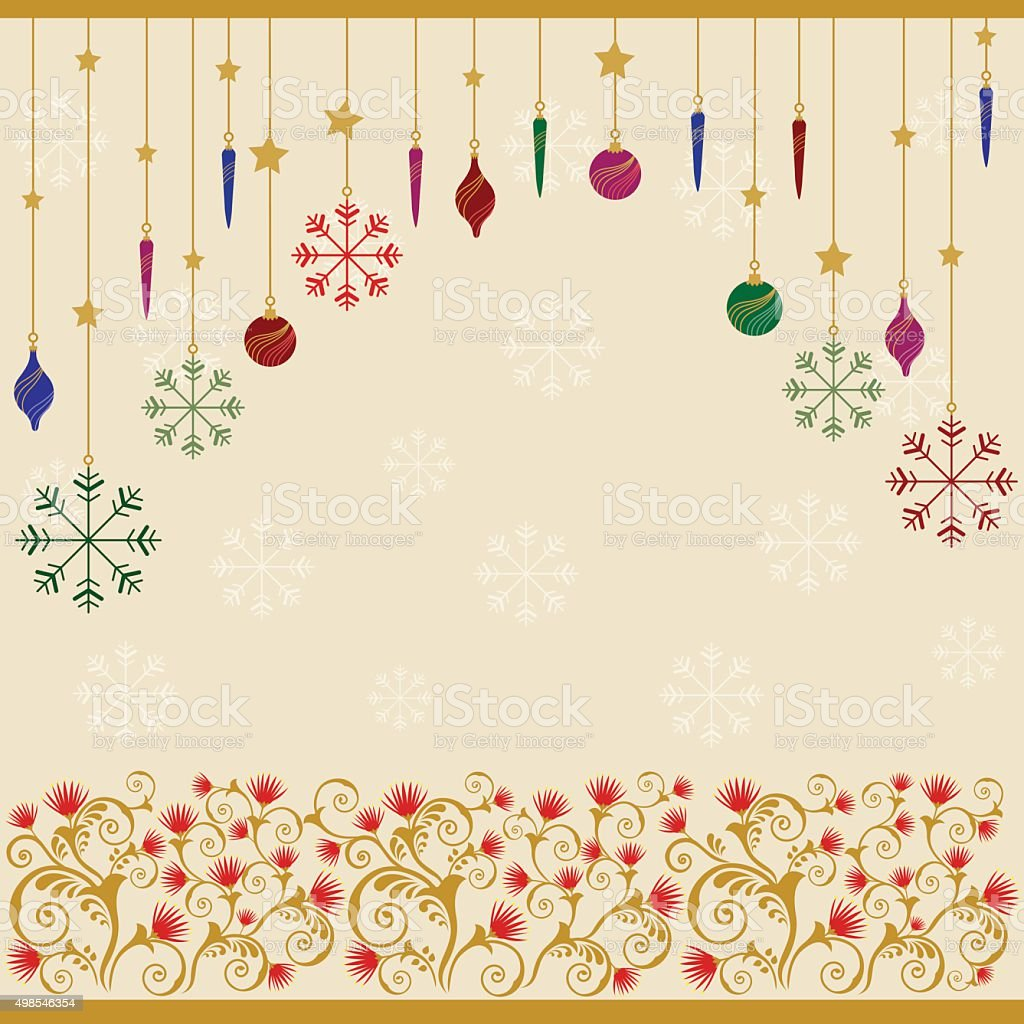 Christmas Ornaments with Pohutukawa floral design background vector art illustration