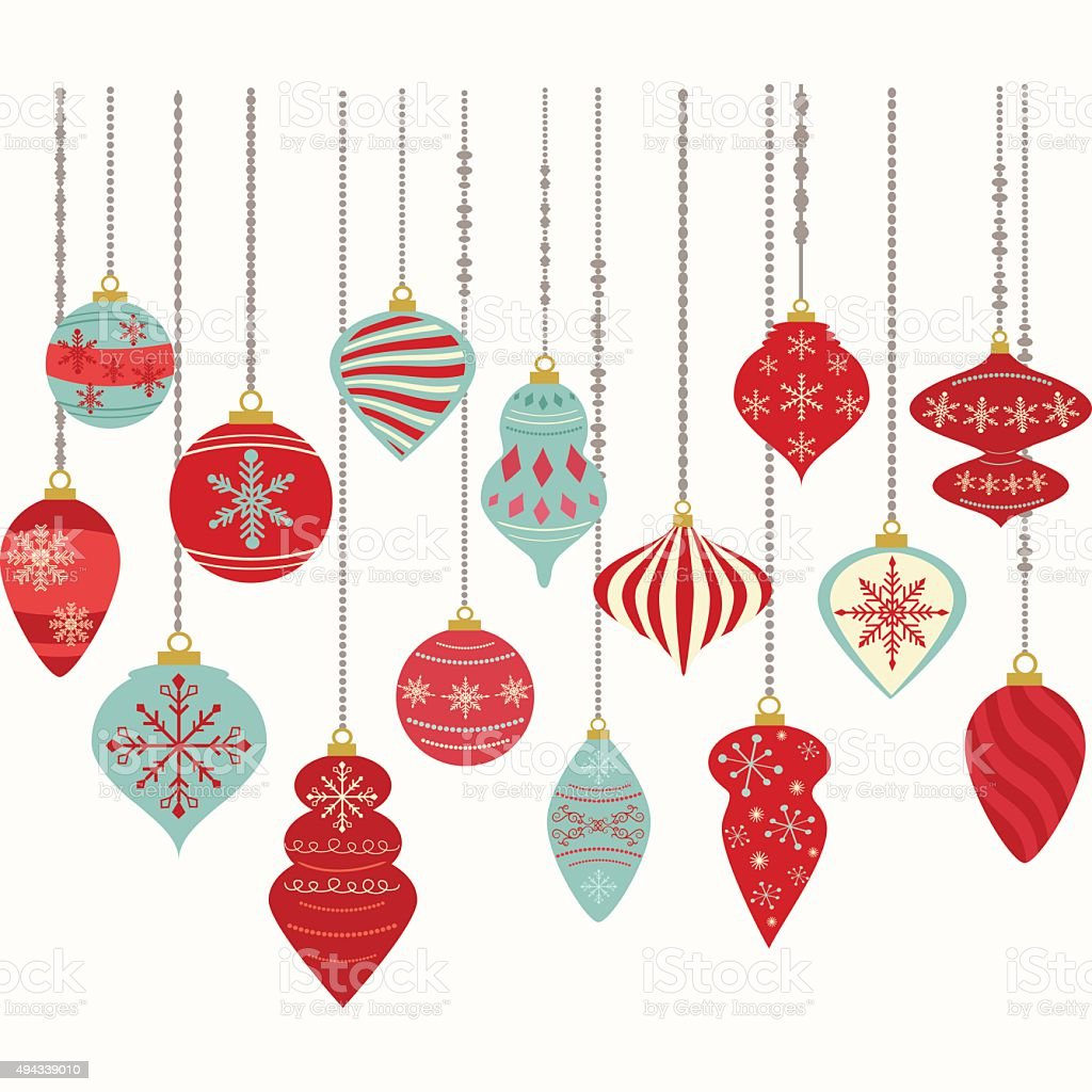 Christmas Ornaments,Christmas Balls Decorations,Christmas Hanging Decoration set. vector art illustration
