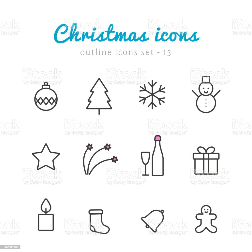 Christmas outline icons vector art illustration
