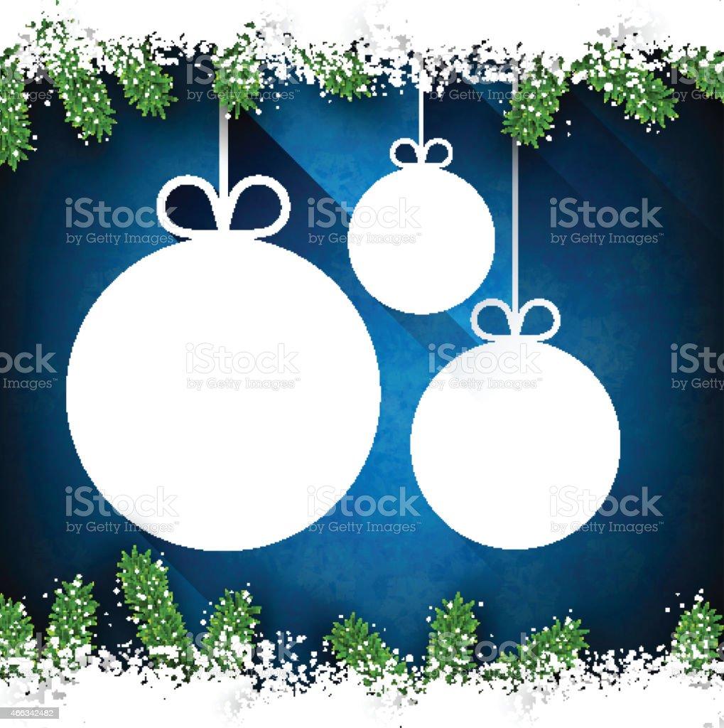 Christmas paper balls on blue background. vector art illustration