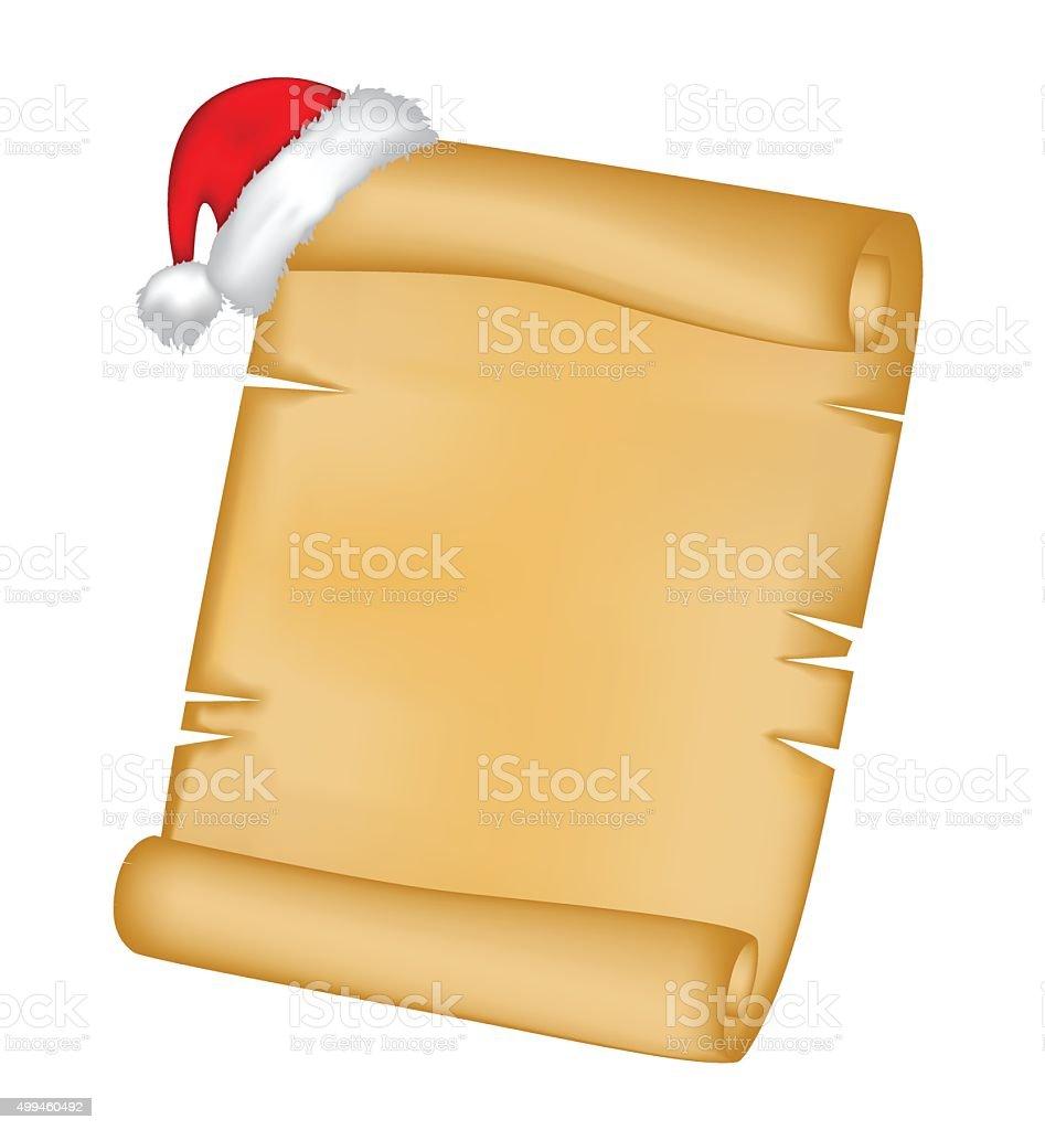 Christmas paper scroll card with santa cap,hat. vector art illustration