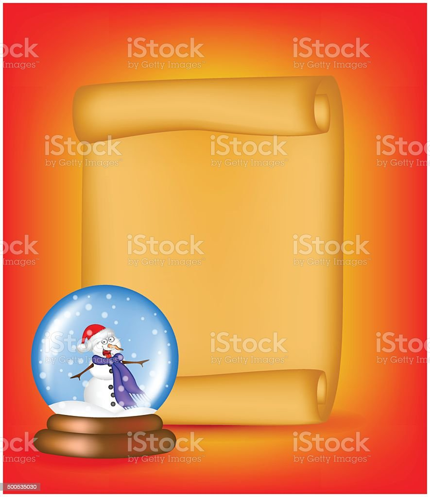 Christmas paper scroll card with snowglobe. Vector illustration isolated vector art illustration