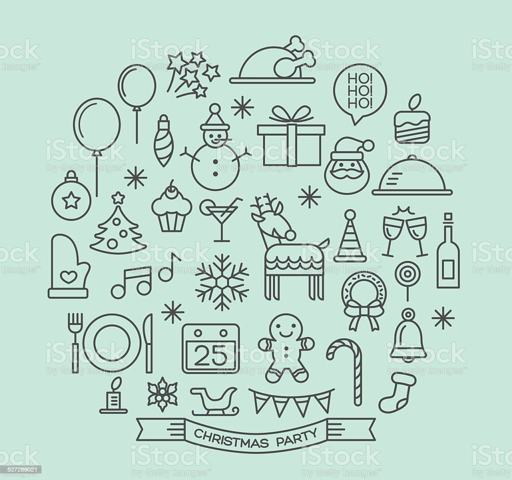 Christmas party elements outline icons set vector art illustration