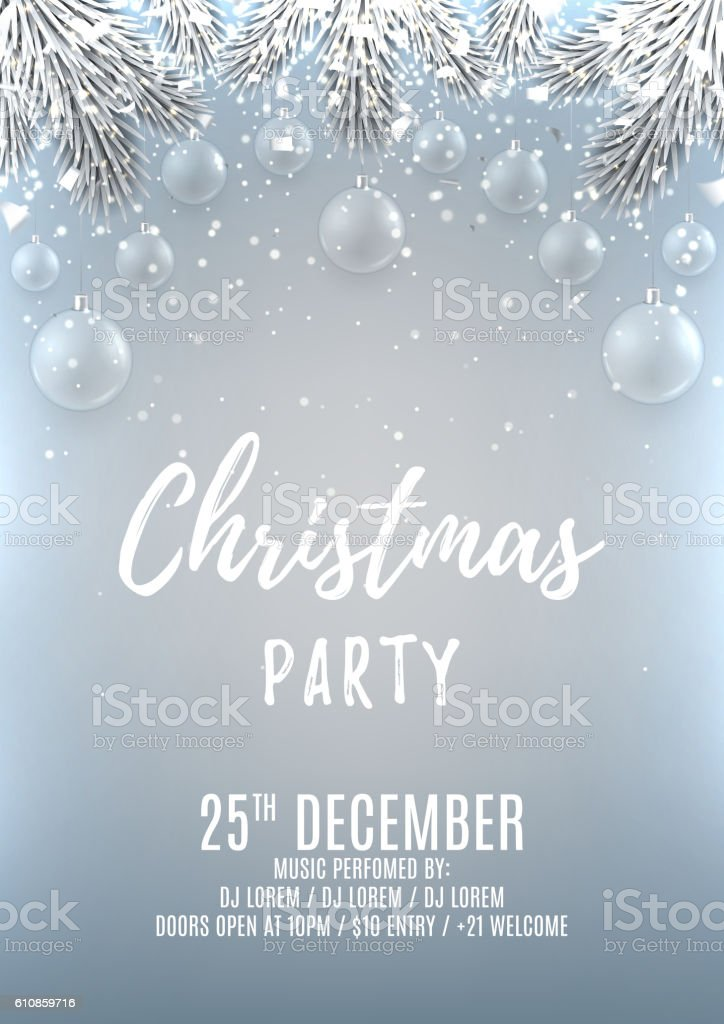 Christmas Party Flyer Template Stock Vector Art 610859716 | Istock