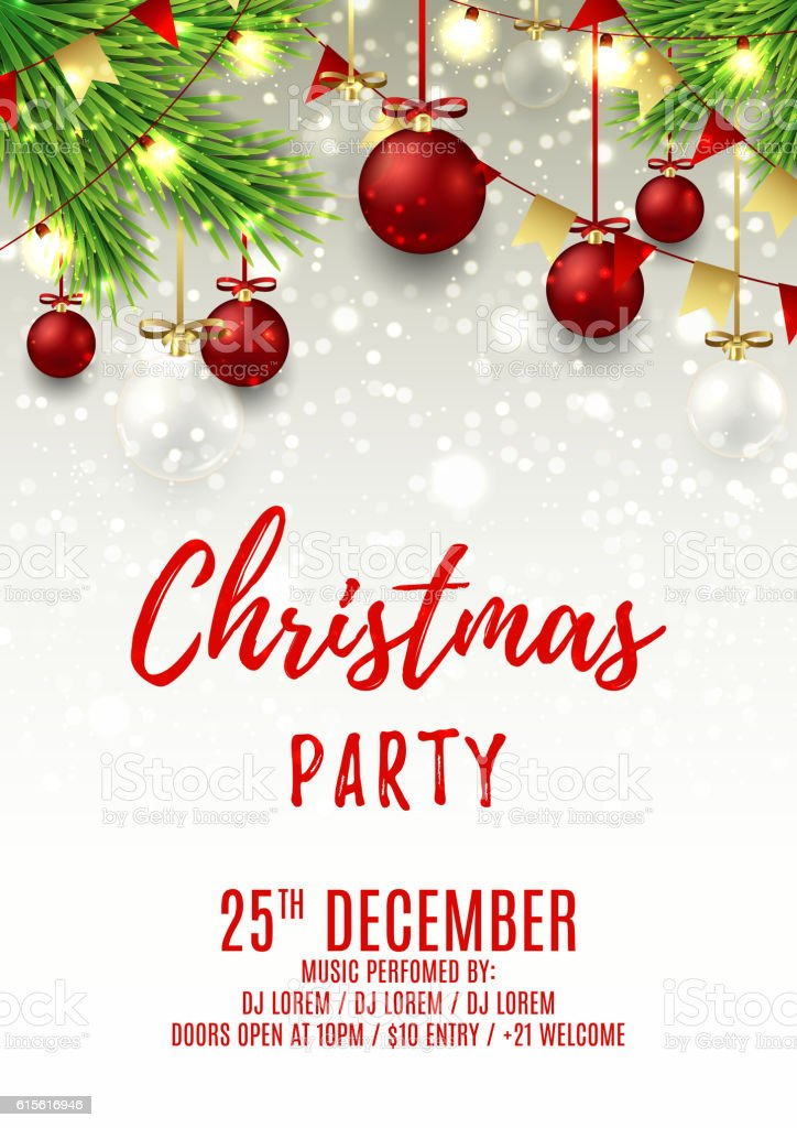 Christmas party flyer template with red and glass balls royalty-free stock vector art