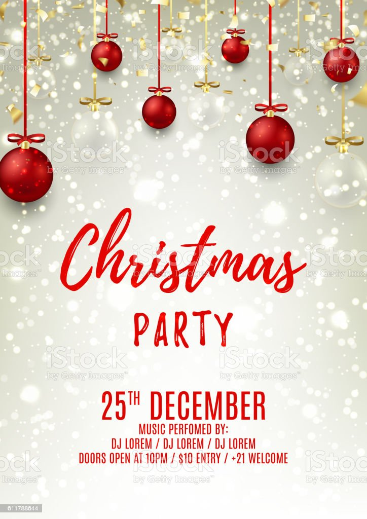 Christmas party flyer with glass and red balls royalty-free stock vector art