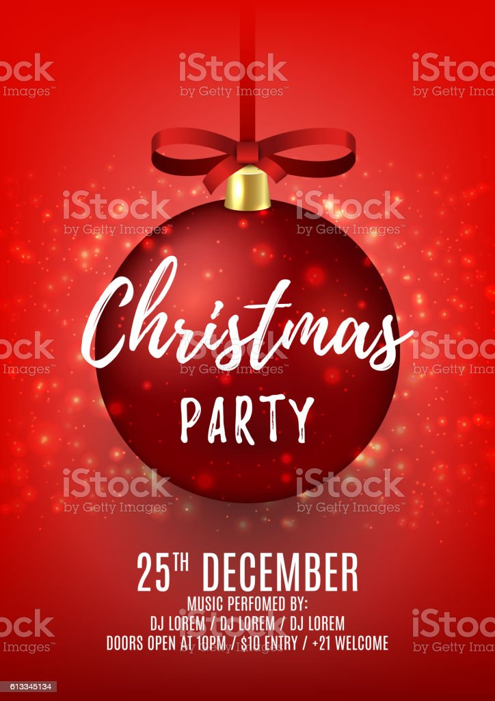 Christmas party flyer with red ball royalty-free stock vector art