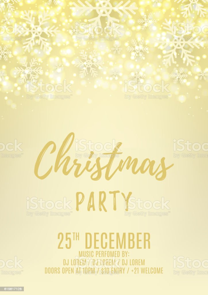 Christmas party flyer with with snowflakes royalty-free stock vector art