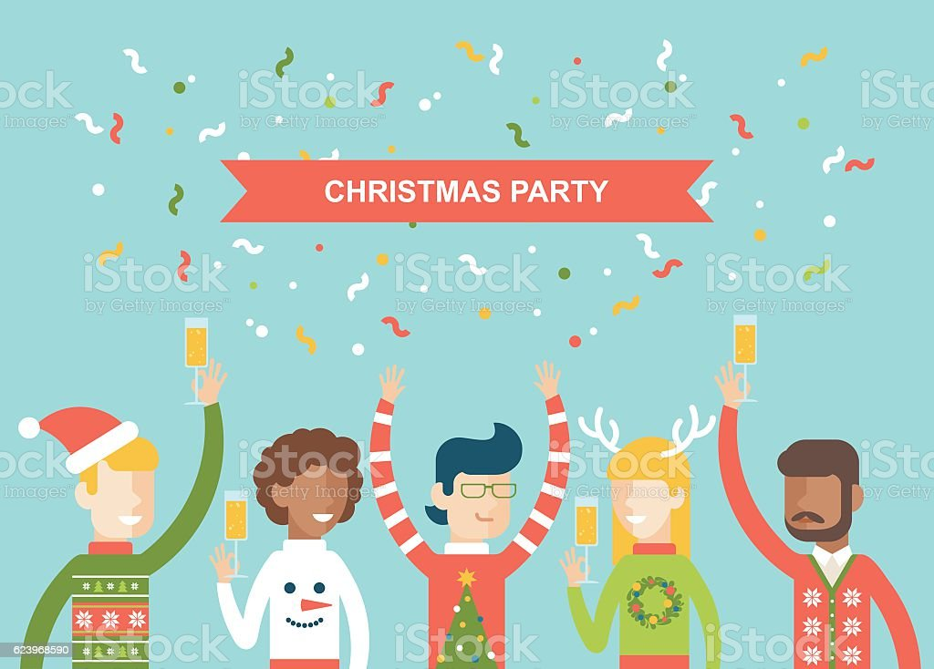 Christmas party happy people celebrating flat vector illustration vector art illustration