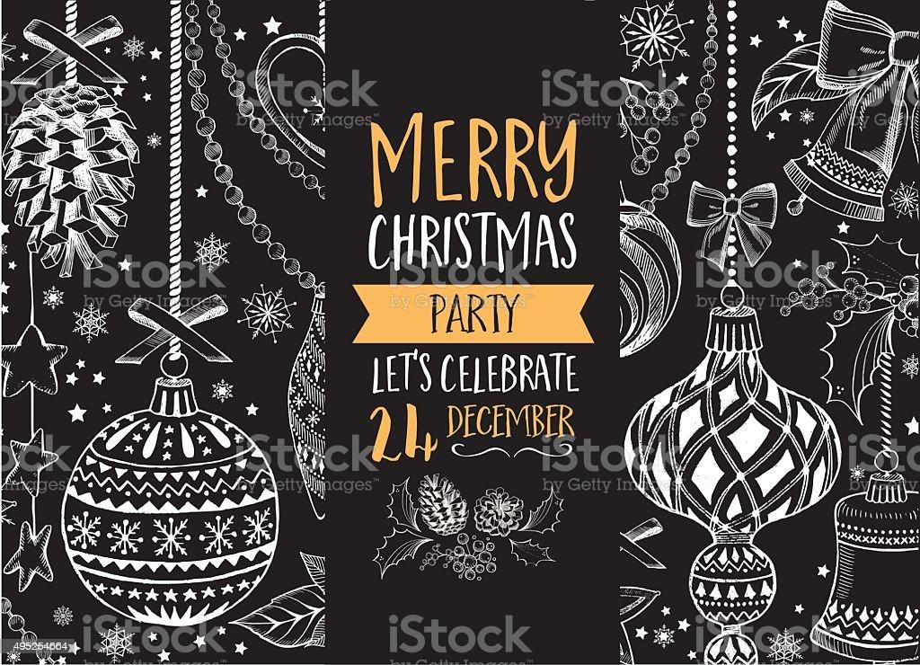 Christmas party invitation. Holiday card. vector art illustration