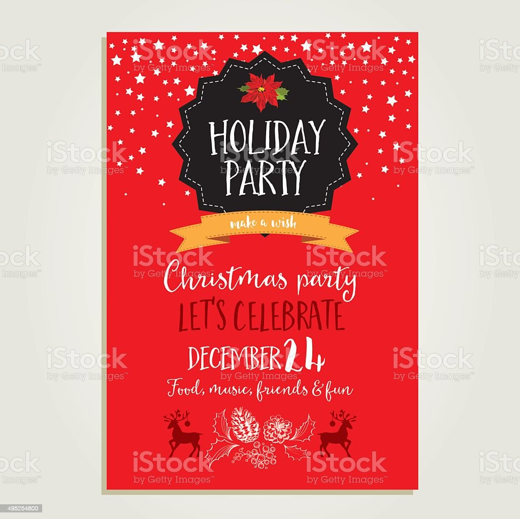 Christmas party invitation. Holiday card. vector art illustration