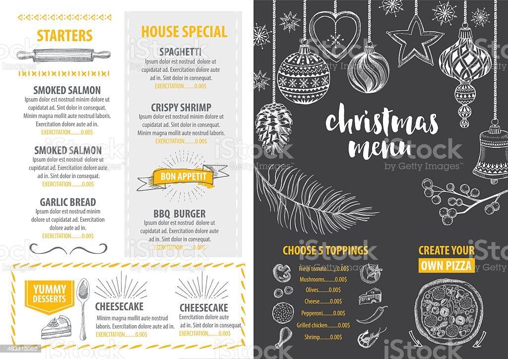 Christmas party invitation restaurant. Food flyer. vector art illustration