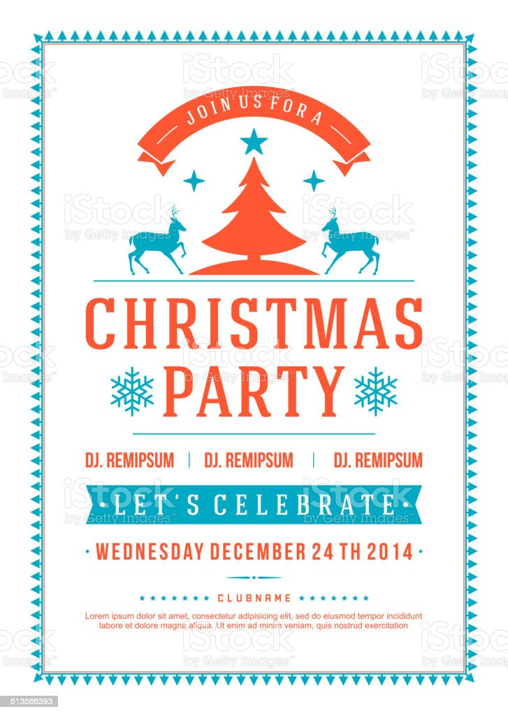 Christmas party invitation retro typography vector art illustration