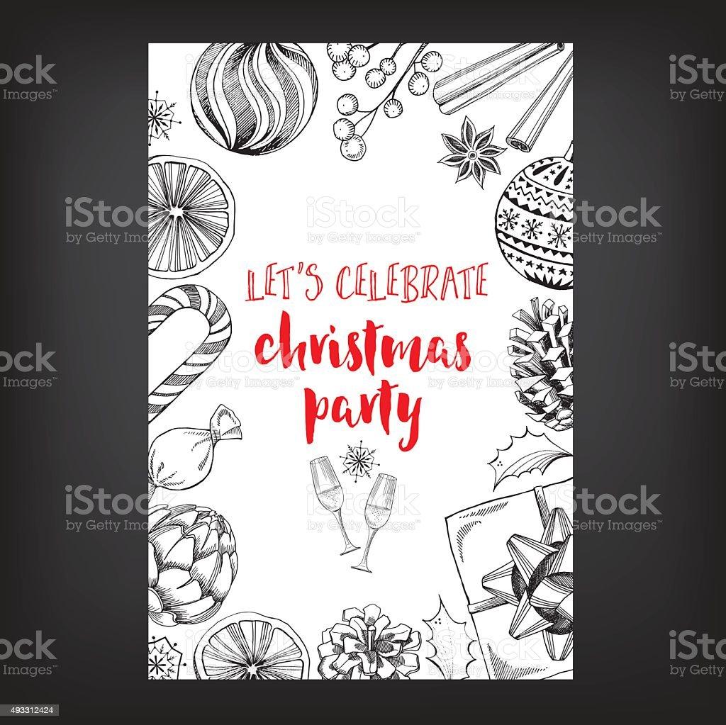 Christmas party invitation. vector art illustration