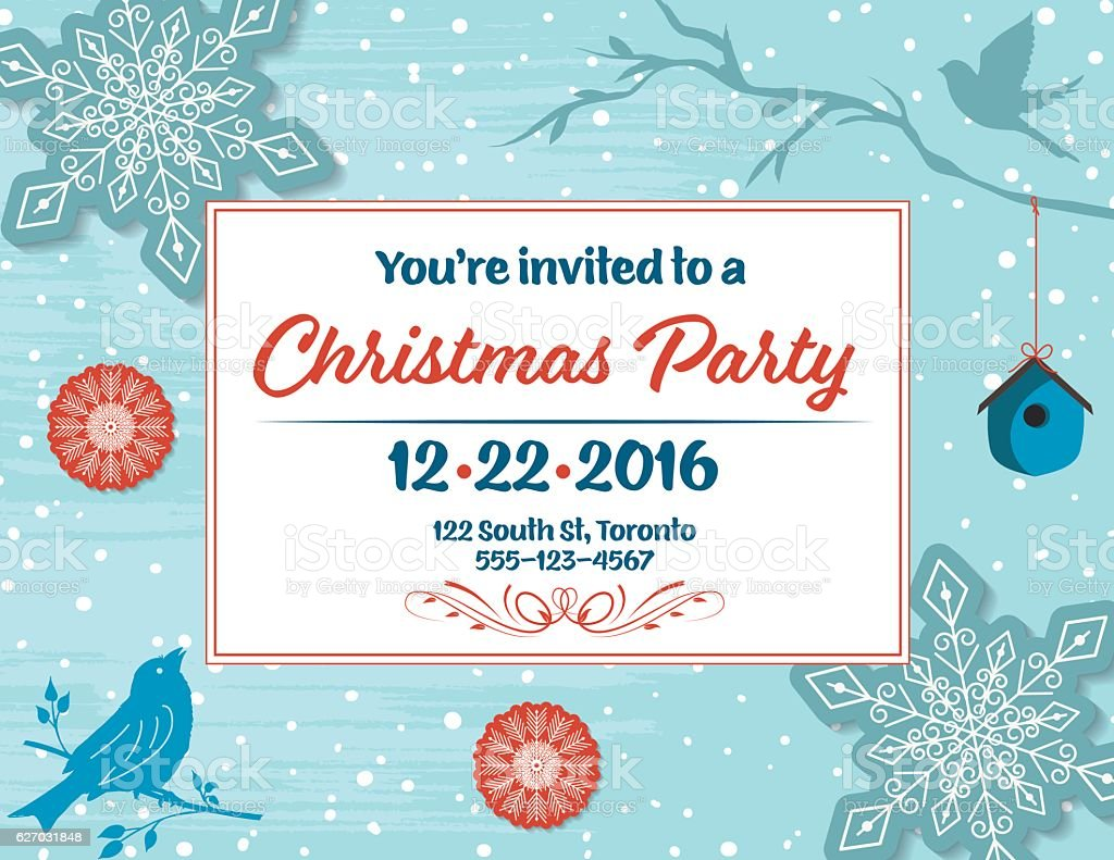 Christmas Party Invitation with snowflakes, birdhouse,birds,  and branches vector art illustration