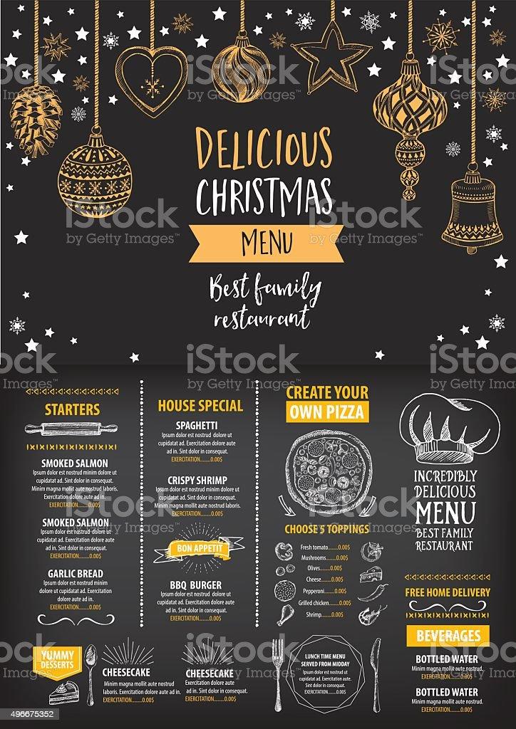 Christmas party menu restaurant. Food flyer. vector art illustration