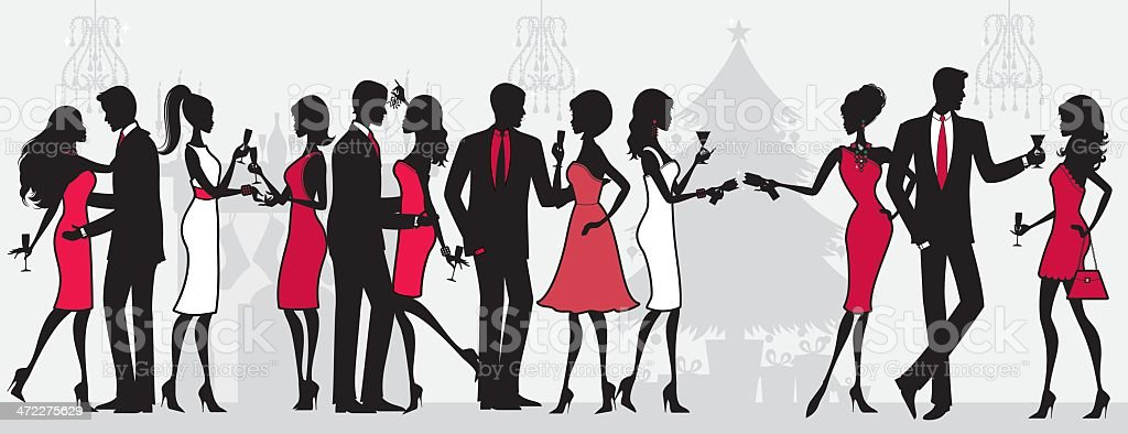 Christmas Party People vector art illustration