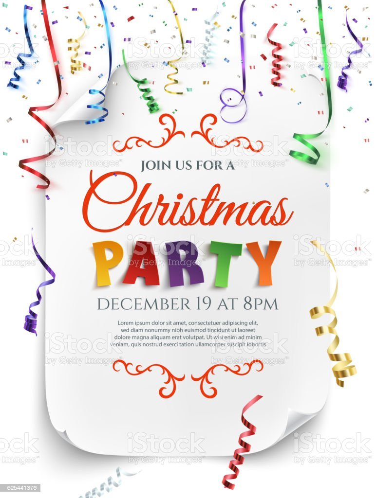 Christmas party poster template. vector art illustration