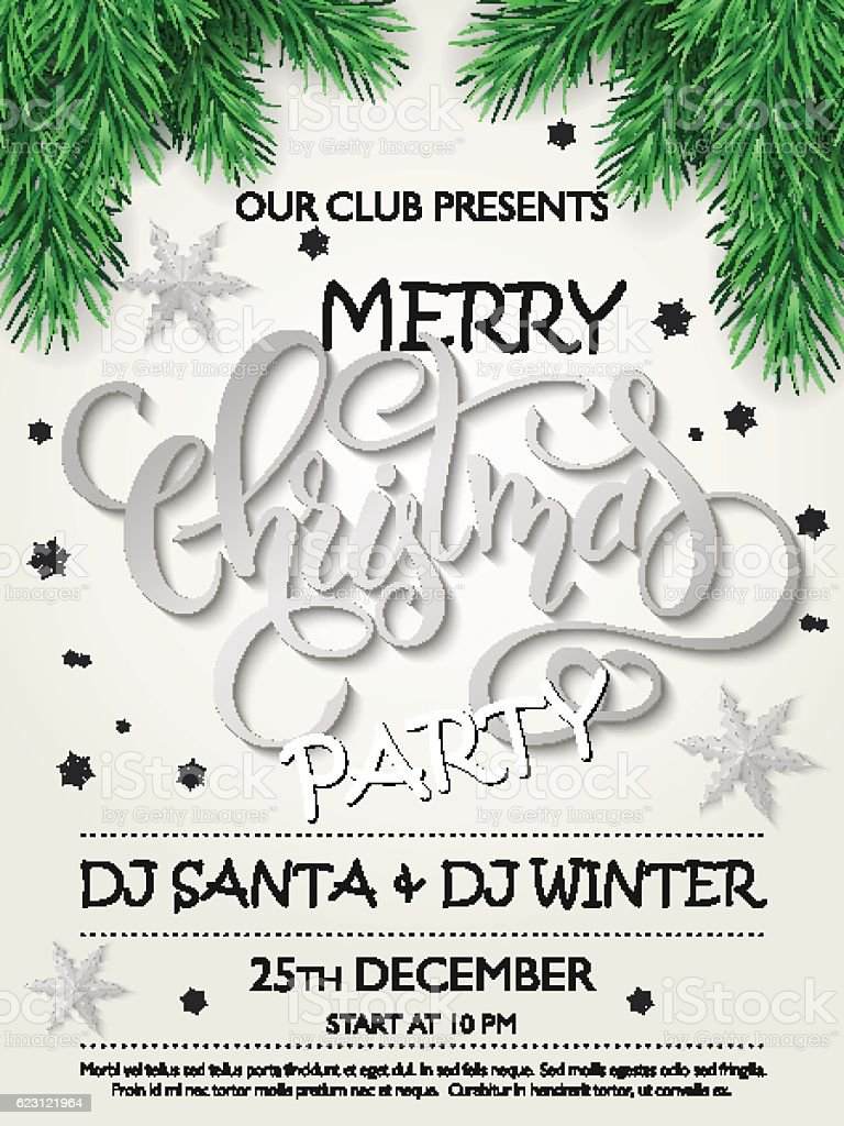 christmas party poster firtree branches silver stars and christmas party poster fir tree branches silver stars and lettering royalty