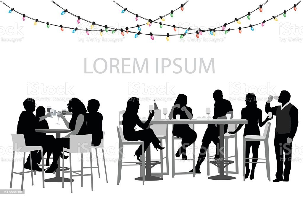 Christmas Party Restaurant vector art illustration