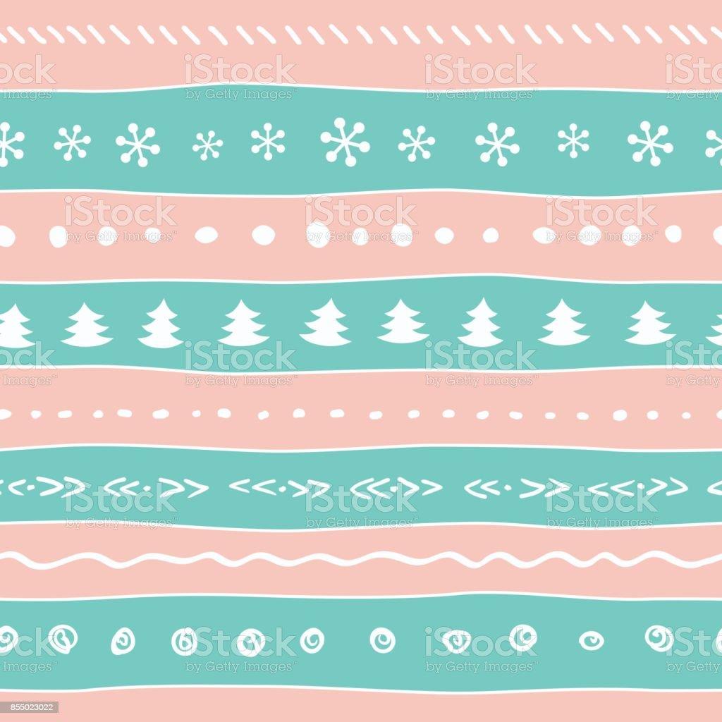 Patrón De Color Pastel De Navidad Con Copos De Nieve árbol Puntos ...