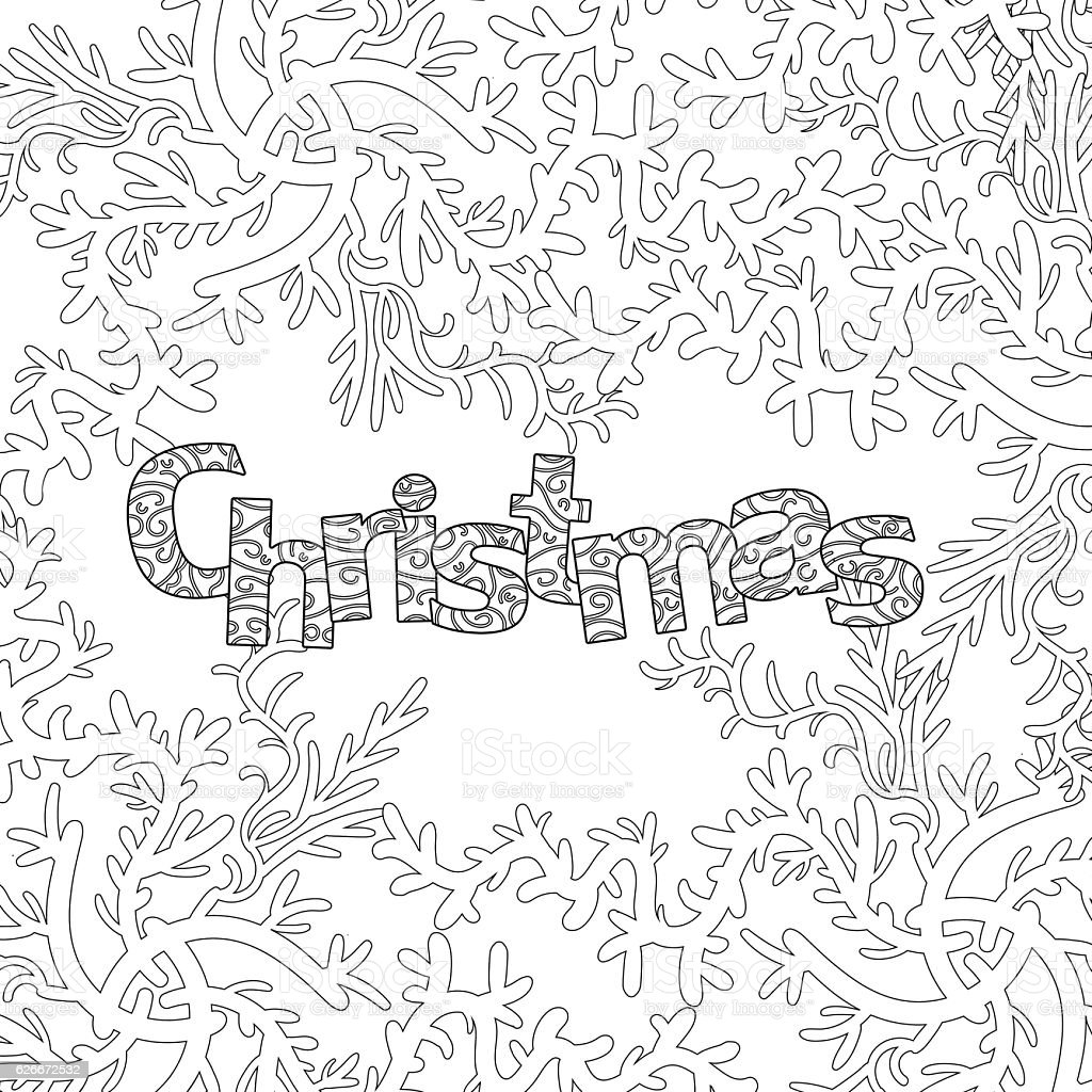 christmas pattern for adult coloring book vector art illustration