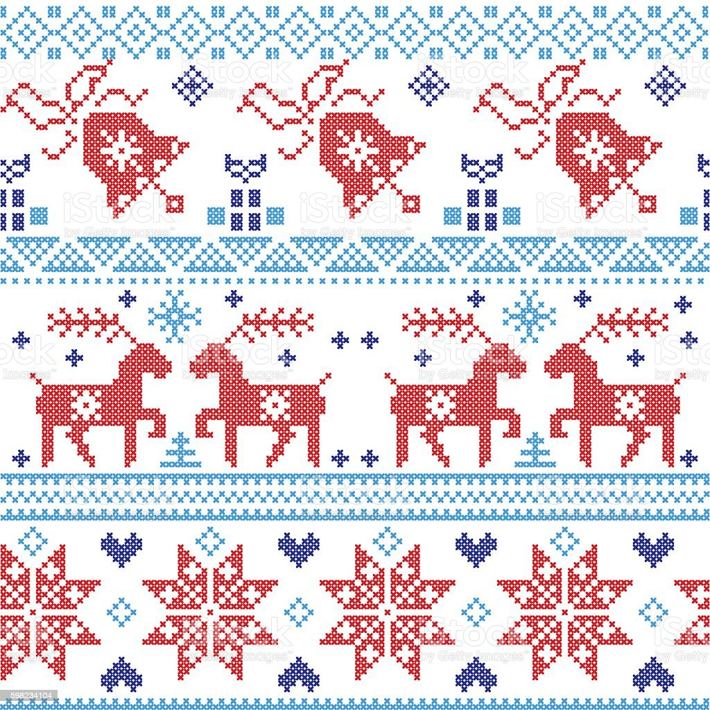 Christmas pattern in blue, red with reindeer, bell, snowflake vector art illustration