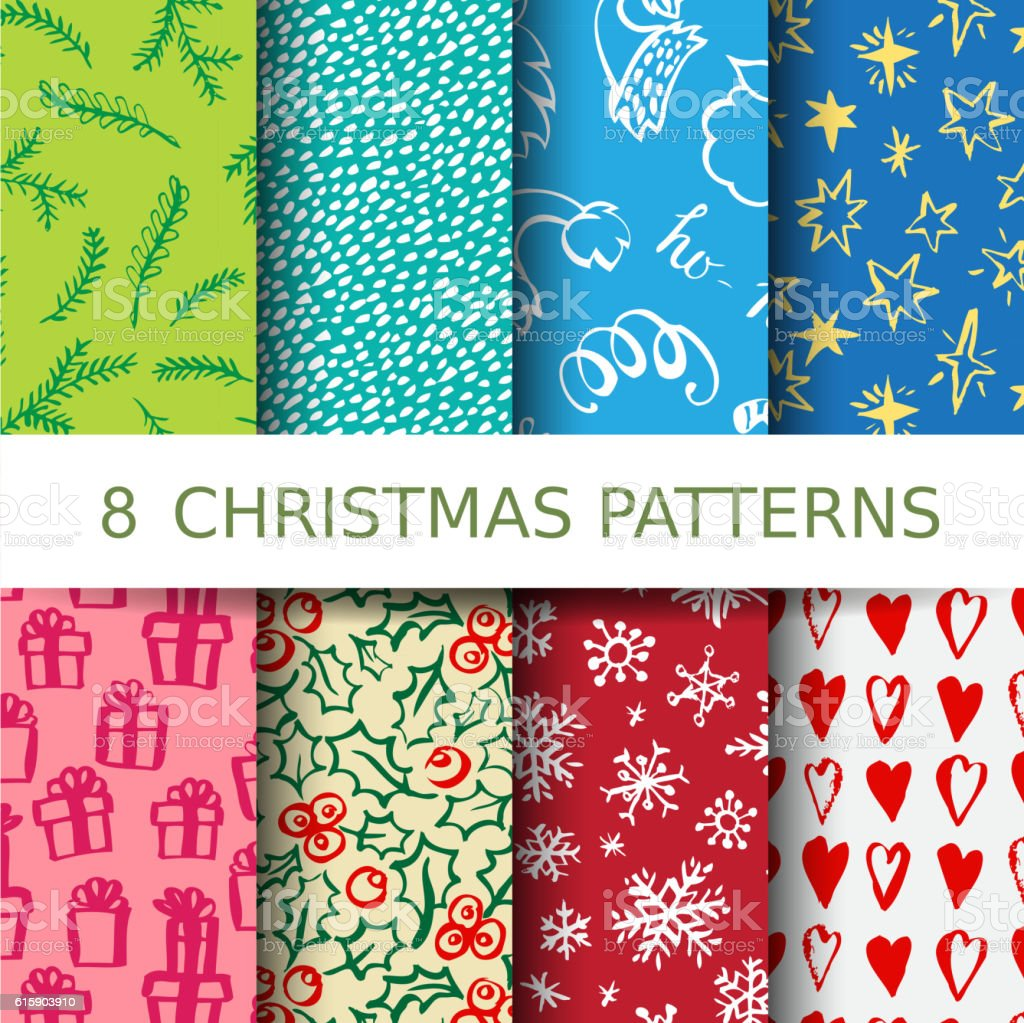 Christmas pattern set vector art illustration