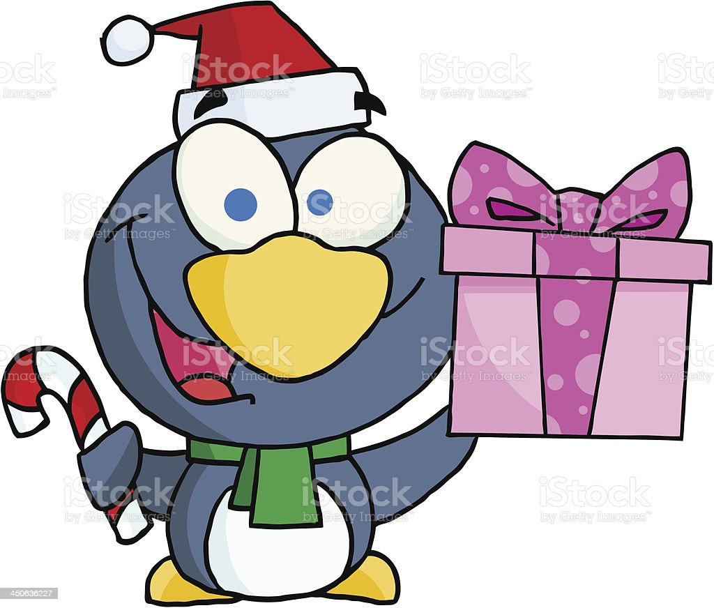 Christmas Penguin Holding A Gift And Candy Cane royalty-free stock vector art