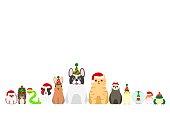 Christmas pet animals border set