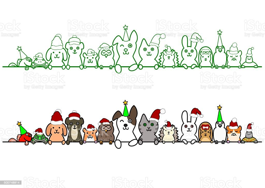 christmas pet animals in a row with copy space vector art illustration