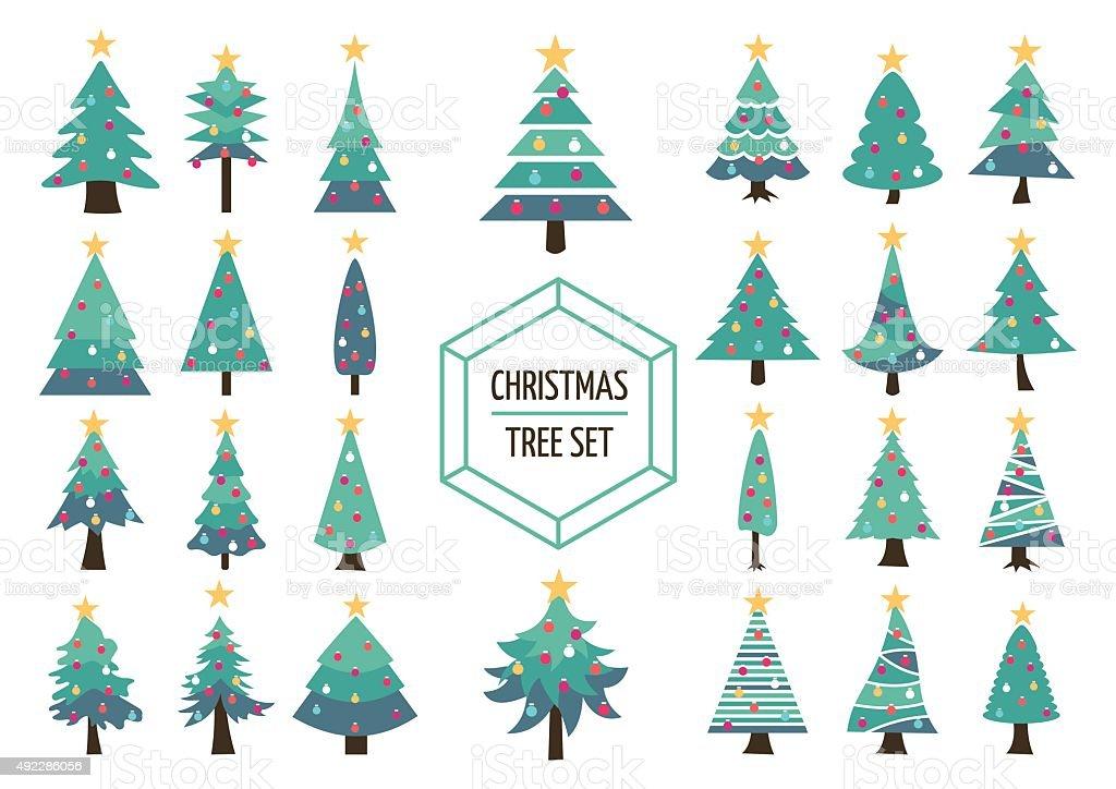 Christmas pine tree set icon holiday decoration vector art illustration