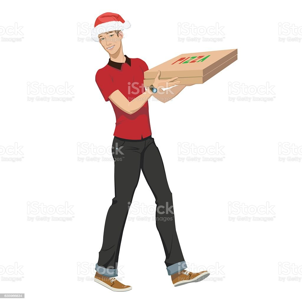 Christmas pizza delivery royalty-free stock vector art