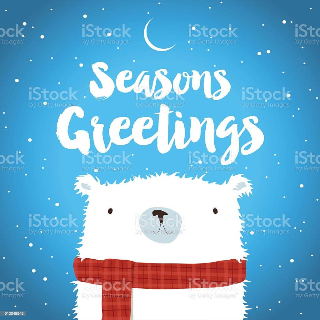 Christmas Polar Bear in the snow Seasons Greetings vector art illustration